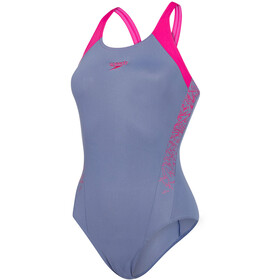 speedo Boom Splice Muscleback Swimsuit Women Vita Grey/Electric Pink